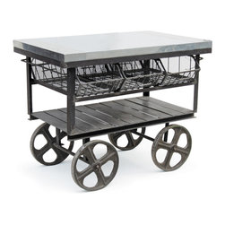 Factory Station Cart - The worker bee of industrial carry all's! The slatted lower shelf, a trio of drop front baskets and a smooth galvanized steel top boogie right along on film reel wheels. A truly mobile workspace.