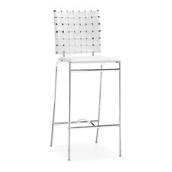 ZUO MODERN - Criss Cross Counter Chair White (set of 2) - With three height choices, the Criss Cross works in any dcor setting, modern or transitional. It has leatherette back straps and a flat seat with a chrome steel tube frame.