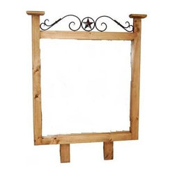 Million Dollar Rustic - Hacienda Style Mirror - Landscape mirror. Metal accents. Warranty: One year. Made from white pine. 38 in. W x 47 in. H (30 lbs.)