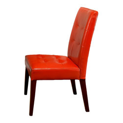 Great Deal Furniture - Highland Leather Dining Chairs (Set of 2) - These modern dining chairs really pack a punch.  They're covered in vibrant orange, bonded leather and feature dark walnut hardwood legs. If you're not afraid of color, these will certainly give your room that wow factor.