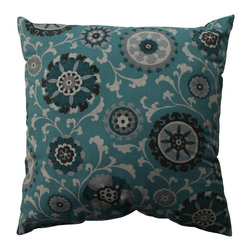 Pillow Perfect - Pillow Perfect Suzani Teal 23-inch Floor Pillow - Enhance your decor with this large floor pillow by Pillow Perfect. This 23-inch pillow has stylish knife edging and a floral design that enhances its visual appeal. It has a 100 percent cotton cover and a plush fiber filling that makes it comfortable.