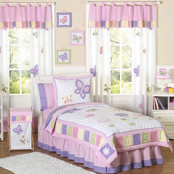 Sweet Jojo Designs - Sweet Jojo Designs Girls 4-piece Butterfly Twin Comforter Set - This Sweet Jojo Designs 4-piece pink and purple butterfly bedding has all that your child will need. The classic butterfly theme will create a fresh spring-time look for your little girl's room all year round.