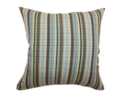 """The Pillow Collection - Octavia Stripes Pillow Blue Brown 18"""" x 18"""" - You will definitely love the gamut of colors in this throw pillow. The vertical print pattern comes in shades of brown, blue, cream, green and black. This accent pillow is perfect for decorating your living room or bedroom. This square pillow brings a lively twist to your home decor. This decor pillow is made from 70% cotton and 30% polyester fabric. Mix and match other patterns and colors from our wide selection of stylish throw pillows. Hidden zipper closure for easy cover removal.  Knife edge finish on all four sides.  Reversible pillow with the same fabric on the back side.  Spot cleaning suggested."""