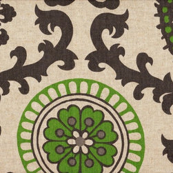 "Close to Custom Linens - 18"" California King Bedskirt Tailored Rosa Green Grey Beige Geometric - Rosa is a contemporary floral in green and grey on a neutral beige linen-textured background. Straight, tailored style with two pleats on each side, split corners and a 18"" drop. 85% cotton, 15% rayon with a cotton/poly platform."