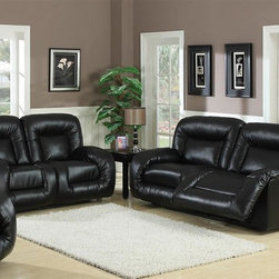 AC Pacific - Bruno Black Leather Sofa & Loveseat - This Plush Loveseat and Sofa offers comfort and style at its best. The sofa and loveseats are dual power recliners. These recliners will cradle you to offer ultimate comfort.. Color/Finish: Black