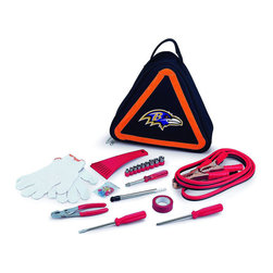 "Picnic Time - Baltimore Ravens Roadside Emergency Kit in Black - The Roadside Emergency Kit by Picnic Time will give you peace of mind knowing that you're prepared when an unexpected auto emergency arises. The kit features a triangular-shaped tote with carry handle that doubles as a reflective hazard warning sign and contains essential tools for roadside emergency repair, including: 1 set of jumper cables (8.2-ft long, 15-gauge copper with laminated instructions tag affixed to the cables), 1 heavy-duty plastic ice scraper, 1 tire-pressure gauge, 1 9-piece ratchet set (socket sizes ranging from 3/16"" to 1/2"") with rigid hand driver, 1 pair of standard slip-joint pliers, 1 flathead screwdriver (7-1/4""), 1 Phillips screwdriver (7-1/4""), 1 roll of red electrical tape, blade-style automotive fuses: (1) 10 amp, (2) 15 amp, and (1) 20 amp, 1 pair of white work gloves (woven heavy-duty cotton blend), and insulated ring and spade terminals (3 of each). Makes a great gift for any car owner.; Decoration: Digital Print; Includes: 1 set of jumper cables (8.2-ft long, 15-gauge copper with laminated instructions tag affixed to the cables), 1 heavy-duty plastic ice scraper, 1 tire-pressure gauge, 1 9-piece ratchet set (socket sizes ranging from 3/16"" to 1/2"") with rigid hand driver, 1 pair of standard slip-joint pliers, 1 flathead screwdriver (7-1/4""), 1 Phillips screwdriver (7-1/4""), 1 roll of red electrical tape, blade-style automotive fuses: (1) 10 amp, (2) 15 amp, and (1) 20 amp, 1 pair of white work gloves (woven heavy-duty cotton blend), and insulated ring and spade terminals (3 of each)"