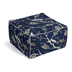 Blue Modern Chinoiserie Square Pouf - The Square Pouf is the hottest thing in decor since the sectional sofa. This bean bag meets Moroccan style ottoman does triple duty as a comfy extra seat, fashion-forward footstool, or part-time occasional table.  We love it in this dark blue & white modern chinoiserie print with blossoms & birds branching out across a soft lightweight cotton.