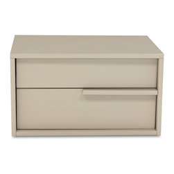 Zuri Furniture - Blake Gloss Taupe 2-drawer Night Stand -Right - The Blake contemporary night stand offers a high gloss minimalistic look and feel for any casual chic bedroom space. Blake is constructed with a high gloss taupe lacquer finish and two spacious drawers.