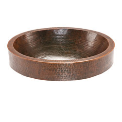 Premier Copper Products - Oval Skirted Vessel Hammered Copper Sink - Uncompromising quality, beauty, and functionality make up this Premier Oval Vessel Style Bathroom Sink With Skirted Rim.