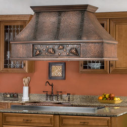 """54"""" Tuscan Series Copper Island Range Hood - Grape Motif - The grape motif and decorative bands of this 54"""" Tuscan Series Copper Range Hood add an elegant touch to this kitchen vent. Both stylish and functional, this island range hood is made from solid copper with stainless steel inserts and washable filters."""