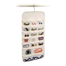 37-Pocket Hanging Clear Jewelry and Accessory Organizer - This is a great way to store jewelry that you don't use often. It would also be perfect to hang amongst all the clothes you wear to see what matches.