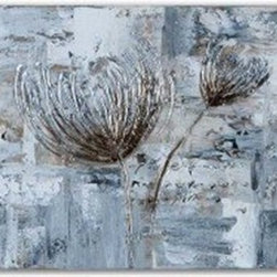 Carolyn Kinder - Carolyn Kinder Silver and Taupe Flowers Contemporary / Modern Wall Art Set of 3 - This set of frameless artwork has been hand painted on stretched canvas. Due to the handcrafted nature of this artwork, each piece may have subtle differences. Set of 3