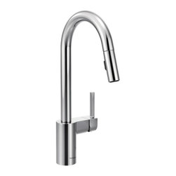 Moen - Moen 7565 Align Spot Resist 1-Handle High Arc Pulldown Kitchen Faucet, Chrome - Moen 7565 Align Spot Resist Stainless one handle High Arc Pulldown Kitchen Faucet, in Chrome Finish. From Classic home kitchens to large elegant workstations, Align Faucets add a modern and functional look to your cooking area. Subtle lines create a contemporary style, while the pull down/out wand adds functionality. Additional feature for this Faucet includes a Spot Resist stainless finish resists fingerprints and water spots for a cleaner looking kitchen, a limited lifetime warranty, and its equipped with the Reflex system for smooth operation, easy movement and secure docking of the pull down/pullout spray head. Great for everyday light work, and those days when heavy-duty cleanups are necessary also.