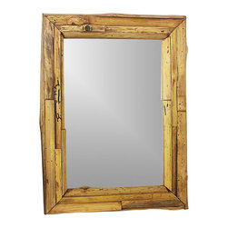Kammika - Mirror Natural Edge Farmed Teak Branch 25x32 inch w Eco Friendly Tung Oil Finish - Our Farmed Teak Branch Wood Framed Mirror Natural Edges Rectangle 25 inch width x 32 inch length with Eco Friendly, Natural Tung Oil Finish is an artistic creation of interlaced branch pieces of varying heights and widths; it is a rustic masterpiece. Farmed Teak branch pieces are attached to a solid Farmed Teak wood frame, with the outer and inner portion showing the natural edges. The bias cut of the wood reveals the swirls of grain inside the teak branches. This mirror presents with an extra large view size with true 5mm mirror glass. The mirror glass retainer bars are solid 1 inch Farmed Teak; there are no metal tabs. These can be used in outdoor spaces. The Farmed Teak wood is rubbed in natural Tung oil that is polished to a matte, water resistant and food safe finish. The light and dark portions of wood turn to darker shades of brown over time and the alkaline in the oils creates a honey orange color. These natural oils are translucent, so the wood grain detail is highlighted. There is no oily feel, and cannot bleed into carpets. Craftspeople from the Chiang Mai area in Northern Thailand create these pieces. Each piece is Work of Art! We make minimal use of electric hand sanders in the finishing process. All products are dried in solar or propane kilns. No chemicals are used in the process, ever. After each piece is cut, dried, sanded, and rubbed with eco friendly oil, they are packaged with cartons from recycled cardboard with no plastic or other fillers. The color and grain of your piece of Nature will be unique, and may include small checks or cracks that occur when the wood is dried. Sizes are approximate. This is made from log quarter rounds, so it will have more knots and natural edges. Products could have visible marks from tools used, patches from small repairs, knot holes, natural inclusions or holes. There may be various separations or cracks on your piece whe