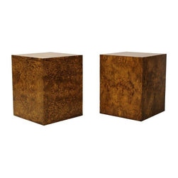 Used Milo Baughman Burl Pedestal Side Tables - A Pair - This is a beautiful pair of burl wood side tables by Milo Baughman for Thayer Coggin. The tables features a deep gorgeous burl grain. These tables were part of a 3 piece set purchased from a fabulous Las Vegas Estate originally purchased in 1973. The set consists of this set of 2 pedestal side tables and a square coffee table (separate listing). The tables are authentic Thayer Coggin pieces, one of the side table still bears the Thayer Coggin delivery tag (See image below). This listing is for the pair of side tables only, however if you are interested in all 3 pieces the seller will gladly negotiate a package deal. Please contact support@chairish.com to inquire.    The tables are in overall great condition only showing minimal signs of age appropriate wear. There is no real damage or imperfections to be noted.