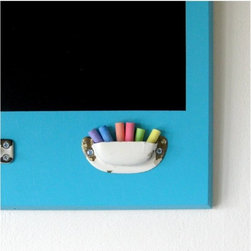 Repurposed Ecofriendly Chalkboard, Turquoise, by Half Pint Salvage - Mount this chalkboard on the wall. Using re-purposed materials in the playroom is a great way to teach the kids about being environmentally responsible.