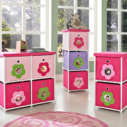 Altra - Altra Kids' Pink Flower Bin Storage System - Keep clutter off your child's floor when you add this adorable kid's storage system from Altra Kids. Each drawer features a photo insert,which allows you to personalize the set,and the bold color pattern will add style to the room decor.