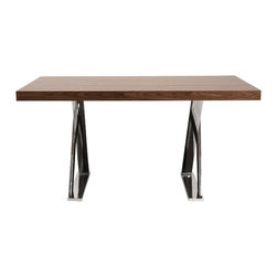 Euro Style - Anika Desk - Walnut/Chrome - Solid doesn't begin to describe the Anika tables. Tops are walnut veneer or high gloss lacquer white and the base is chromed steel. The legs form an extra strong 'x' shape that is uniquely creative. One leg 'thin edge' up, while the other is 'wide edge' up. It's a dramatic shape for a beautiful workmate.