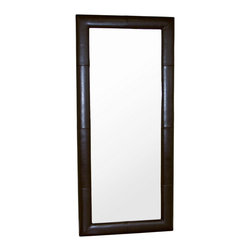 Wholesale Interiors - Floor Mirror with Dark Brown Leather Frame - Accent your home decor with this floor mirror. Features expert stitching on the front. Simple yet elegant floor mirror gives your home a distinctive look, this floor mirrors add charm to any home or office decor. Frame constructed with lightly padded hardwood frame. Simple style that lend a charm to this chair that speaks for itself. Durable polyurethane coated leather for longer lasting use and stain resists for easy clean up. Simple yet sophisticated design. This mirror will add charm to any home or office decor.