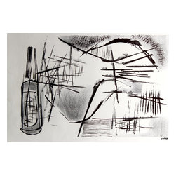 Lost Art Salon - Jerry Opper Black & White Original Lithograph, 1940-50s - This late 1940s-Early 1950s abstracted stone lithograph on paper is by California artist Jerry Opper (b.1924). After graduating from Hollywood High School, he worked in movie studios and attended art classes at Choiunard Art Institute. In 1942 he was drafted into the army and was then able to study at the Colorado Springs Fine Arts Center while his outfit was stationed in Colorado. After he was discharged in 1945 he returned to Chouinard and his work in movie studios until 1947, when he moved to San Francisco. Mr. Opper then enrolled at the California School of Fine Arts. Opper�۪s prints have been included in several major shows throughout the country: Oakland Art Gallery; Sacramento State Fair; San Francisco Museum of Art; International Color Lithography Exhibition at Cincinnati, Ohio; Pennell Print Show at the Library of Congress, Washington D.C.; Brooklyn Museum Print Show; Los Angeles County Fair, Pomona; City of Paris Rotunda Gallery, San Francisco. Unframed, shipped in standard sized archival mat.