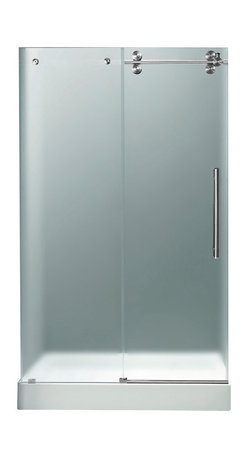 "VIGO Industries - VIGO 48-inch Frameless Shower Door 3/8"" Hardware, Frosted/Chrome, Right - Make your bathroom an oasis with a VIGO frameless shower door with matching 48"" x 36"" shower base."