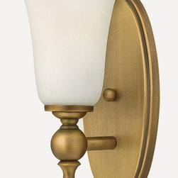 Hinkley - Hinkley-5740BR-Yorktown - One Light Bath Bar - The elegant Yorktown collection offers updated traditional styling with cast detailing for an authentic touch. The cast back plate finials bar ends and ball transitions combine to make this classic design perfect for any décor. Mounting Direction: Up and Down Shade Included: Yes  Brushed Bronze Finish with Etched Opal Glass  Lamp Quantity: 1  Lamp Type: Medium Base  Wattage: 100  Voltage: 120  Damp Location Certified  Material: Metal