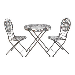 Benzara - Metal Bistro - Set of 3 29in.W, 27in.H Patio Furniture - Made with iron alloy Size: 27 in. x27 in. x29 in.