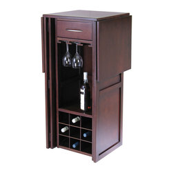 "Winsome Wood - Winsome Wood Newport Wine Bar Expandable Counter - Expandable Bar Counter is perfect for serving at party. Fold for storage with 20.31""L x 17.87""W x 40.16""H dimension. Store up to 9-12 long stem glasses. Bar (1)"