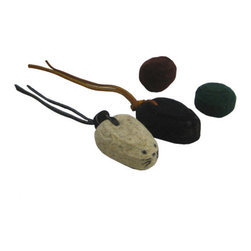 The Felt Store - Felt Mice and Ball Kitty Toy Set - The eco-friendly kitty toys will entertain your cat and keep it busy for hours. The set includes two balls and two mice made from 100 percent natural wool felt. The mice are approx. 2.5 inches x 2 inches x 1 inches (63.5mm x 50.8mm x 25.4mm). Their tails are made of 8 inches (203.2mm)  leather straps making it ideal to hold and use as a dangle toy for your feline friend. The balls are approx. 1.5 inches (38mm) diameter.