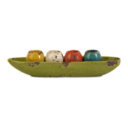 iMax - Mercade Tealight Candle Holders in Tray, Set of 5 - A vibrant multicolored arrangement of 4 tea light candle holders displayed in a lime green tray.