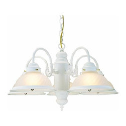 DHI-Corp - Millbridge 5-Light Chandelier, Textured White - The Design House 506204 Millbridge 5-Light Chandelier is made of formed steel, frosted swirl glass and finished in white. This 5-light chandelier is rated for 120-volts and uses (5) 60-watt medium base incandescent bulbs. This chandelier's sprawling arms meet (5) downward facing lamps gently diffusing light from above. Measuring 14-inches (H) by 22-inches (W), this 9.3-pound fixture has a 48-inch chain to extend from high ceilings. Curved lines and soft details add a modern accent in a kitchen, dining room or entry way. This product is UL and cUL listed. The Millbridge collection features a beautiful matching pendant, wall sconce, ceiling mount and vanity light. The Design House 506204 Millbridge 5-Light Chandelier comes with a 10-year limited warranty that protects against defects in materials and workmanship. Design House offers products in multiple home decor Categories including lighting, ceiling fans, hardware and plumbing products. With years of hands-on experience, Design House understands every aspect of the home decor industry, and devotes itself to providing quality products across the home decor spectrum. Providing value to their customers, Design House uses industry leading merchandising solutions and innovative programs. Design House is committed to providing high quality products for your home improvement projects.