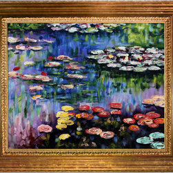 overstockArt.com - Monet - Water Lilies (Pink) Oil Painting - A colorful, Water Lilies by Claude Monet has been carefully redone to near perfection with color and brush stroke detailing. The Water Lilies painting is actually a series of 250 oil paintings by Monet. They depict Monet's garden in Giverny and were the main subjects of his paintings later in his career. Monet, a French Impressionist, was born in Paris is 1840, and pursued his passion for painting from the start befriending fellow Impressionist artists. The outdoors clearly inspired Monet to take most of his subject matter from nature's beauty. His use of realistic colors and attention to detail still inspire painters today. This beautifully reproduced painting will work in many rooms in your home. Order it today and start your own collection of Monet masterpieces.