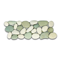 "CNK Tile - Sea Green and White Pebble Tile Border - Each pebble is carefully selected and hand-sorted according to color, size and shape in order to ensure the highest quality pebble tile available.  The stones are attached to a sturdy mesh backing using non-toxic, environmentally safe glue.  Because of the unique pattern in which our tile is created they fit together seamlessly when installed so you can't tell where one tile ends and the next begins!   Usage:   Suitable for interior and exterior use, walls, floors, showers, backsplashes and pools.   Details:  Stone size: Approx. 3/4"" to 2-1/2""   Thickness: Approx. 1/2""   Dimensions per sheet: 4"" High by 12"" Wide  Mounting: Mesh-backed"