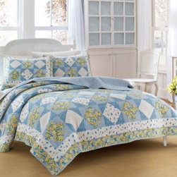 Laura Ashley - Laura Ashley Grace Reversible Quilt - The Grace quilt is the perfect balance of tradition and timeless charm. Floral bouquets in hues of blue and yellow are intricately pieced together on a decorative quilted ground for a fresh and beautiful look that will rejuvenate your bedroom.