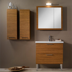 Iotti - 30 Inch Bathroom Vanity Set - A wider profile and very generous storage make this Italian made vanity set a superb choice for the master bathroom. Finished in Glossy White, Wenge, Gray Oak and Teak, these waterproof finishes will accommodate a wide variety of d�cor choices. The full width fitted sink tops the vanity cabinet's double storage drawers. Soft close runners and polished chrome handles give you quiet operation and easy access. The two door mirrored medicine cabinet opens to two full shelves of storage. Comes complete with vanity light. Set Includes: . Vanity Cabinet (2 drawers). Fitted ceramic sink (31.5 inch x 15.2 inch ). Medicine Cabinet (30.9 inch x 27.7 inch ). Vanity Light. Vanity Set Features:. Vanity cabinet made of engineered wood. Cabinet features waterproof panels. Available in Teak (as shown), Glossy White, Wenge, Gray Oak. Cabinet features 2 soft-closing drawers. Faucet not included. Vanity feet not included. Side storage cabinets not included. Perfect for modern bathrooms. Made and designed in Italy. Includes manufacturer 5 year warranty.
