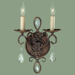 Feiss - Chateau 2-Light Wall Sconce by Feiss - The Murray Feiss Chateau 2-Light Wall Sconce sweetens the ambiance with its delicate and detailed composition. Featuring polished glass crystals and a Mocha Bronze finish, this French Chateau-inspired piece offers elegance and refinement along a hallway or decorating a dining room.Murray Feiss lighting boasts an award-winning team of industrial, graphic and interior designers and engineers that guarantee only the finest materials are used for their products.The Murray Feiss Chateau 2-Light Wall Sconce is available with the following:Details:Hand polished glass crystalsMocha Bronze finishRound wall plateUL ListedLighting: Two 60 Watt 120 Volt Candelabra Base Incandescent lamps (not included).Shipping:This item usually ships within 48 hours.