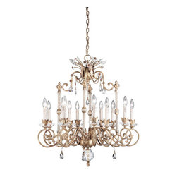 Eurofase Lighting - Eurofase Lighting 14454 Twelve Light Up Lighting Two Tier Chandelier Da - Twelve Light Two Tier Chandelier from the Dahlia CollectionByzantian luxury and style emanates from this opulent family; dusty golden framework enhances an abstract labyrinth of metal designs and crystal gems