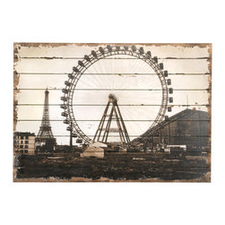 Roue de Paris Oil Reproduction on Wooden Background - Whether your have a shabby chic inclination or a more European vintage style, the Roue de Paris is the most charming addition to a space. This oil reproduction featuring the Eiffel Tower in the background and the Grande Roue de Paris in the foreground has been printed on a wooden backboard and distressed ever so gently to create a weathered and aged appeal that is ideal for a guest bedroom or living room wall.