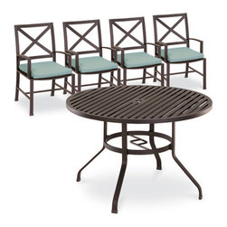 Thos. Baker - terrace 5pc dining set - Masterfully crafted to combine beauty and function, our high-performance wrought aluminum  terrace collection is hand-welded, highly durable and virtually maintenance-free.  The dark chocolate powder-coat is an excellent choice for elegant outdoor lounging and dining sets.