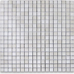 """Stone Center Corp - Spanish Crema Marfil Marble Square Mosaic Tile 5/8x5/8 Polished - Crema Marfil Marble 5/8x5/8"""" square pieces mounted on 12x12"""" sturdy mesh tile sheet"""
