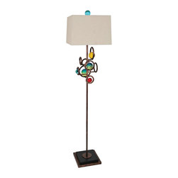 """Van Teal - Contemporary Van Teal Ball Team Multicolor Floor Lamp - Distinctive modern floor lamp. Weathered copper finish. Aqua Aztec Gold and berry acrylic orbs. Metal and acrylic construction. Ivory chiffon square hardback shade. Square base. Standard socket switch. Takes one maximum 150 watt or equivalent 3-way bulb (not included). 59"""" high. Shade is 13"""" square on top 14"""" square on the bottom and 9 1/2"""" high. Includes 10' cord.  By Van Teal Lighting.  Distinctive modern floor lamp.  Weathered copper finish.  Aqua Aztec Gold and berry acrylic orbs.  Metal and acrylic construction.  Ivory chiffon square hardback shade.  Square base.  Standard socket switch.  Takes one maximum 150 watt or equivalent 3-way bulb (not included).  59"""" high.  Shade is 13"""" square on top 14"""" square on the bottom and 9 1/2"""" high.  Includes 10' cord."""