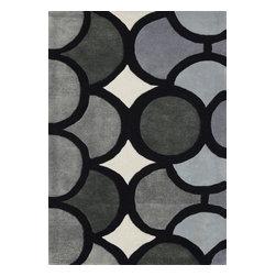 Alliyah Rugs - Grey, Ivory, Charcoal, & Dark Grey Contemporary Rug, 8x10 - Alliyah Handmade New Zealand Blended Wool Rug with Grey, Ivory, Charcoal, & Dark Grey color. Antique Washed.