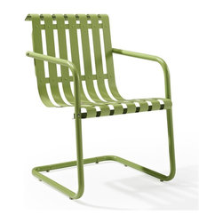 Crosley Furniture - Gracie Retro Spring Chair in Oasis Green - Sturdy Steel Construction. Easy To Assemble. UV Resistant. Indoor/Outdoor Construction. Variety of Colors to Match any D̩cor. Powdercoated Finish. Assembly Required. 22 in. L X 21.75 in. W X 31.5 in. H (23.5 lbs.)Prepare to be swept back in time by the new Gracie chair from Crosley.  This unique chair uses a simple cantilevered design to cradle a person comfortably in place, allowing them to gently bounce away the frustrations of their day.  Made of durable steel, the chair is expertly powder coated to withstand whatever the elements can throw at it.  Available in 4 playful colors, the Gracie is certain to become the best seat in the house.