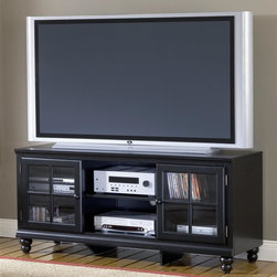 Hillsdale Furniture - 61 in. Entertainment Black Console - Grand Ba - For residential use. Black color. Transitionally designed to blend easily into both contemporary and traditional d���cor, the Grand Bay entertainment console is available in two finishes to fit your needs. The smooth satin finish is available in either black or white for added versatility across many decor styles. It is constructed of solid wood and the back features knockouts for easy cable management. The console offers two glass front cabinets with adjustable shelves and an open center area with an additional adjustable shelf for storing your electronics, game systems, DVDs and CDs. 61 in. W x 18.5 in. D x 27 in. H