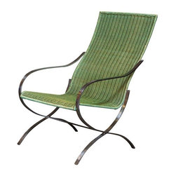 "Vintage 70's Green and Chrome Lounge Chair - Oh so 70's! The chrome legs contrast the green woven upholstery with complete Mod appeal. One of a kind. Designed by an architect in Stockholm, Sweden. Seat height: 15"" Seat depth: 17.5"""