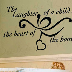 Decals for the Wall - Wall Decal Sticker Quote Vinyl The Laughter of a Child Children Baby's Room K59 - This decal says ''The laughter of a child is the heart of the home''