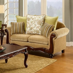 Furniture of America Barrington Fabric Loveseat - Wheat - Showcasing rolled arms and an intricate wood trim, this Furniture of America Barrington Fabric Loveseat – Wheat brings elegant style to your décor. Comfortable yet durable, this loveseat features a solid wood frame that is built to last. Soft fabric upholstery is embellished in a stylish wheat finish that adds a complementing look and feel to any décor. Each cushion is filled with resilient foam cores that provide uniform seating and lasting support. This elegant loveseat comes complete with accenting toss pillows.About Furniture of AmericaFurniture of America has over 20 years experience in the furniture industry. They have facilities in California, Georgia, and New Jersey. Furniture of American strives to provide a comprehensive selection of home furniture at competitive prices. They feature a wide variety of bedroom collections, youth furniture, dining room sets, upholstery, living room furniture, accents, upholstery, and more. Furniture of America offers, more value for less, always!