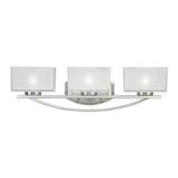 3 Light Brushed Nickel Frosted White Inside And Clear Outside Glass Glass Vanity - A triple vanity light displayed in square cube glass shades frosted white inside and clear outside, with a brushed nickel finish for a fresh and modern look.