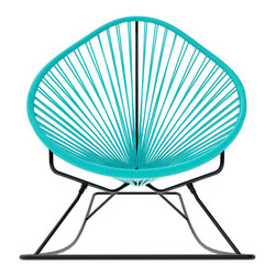 Acapulco Rocker, Turquoise Weave On Black Frame - Sit back and relax in this classic woven rocking chair. The iconic pear-shaped seat is perfect for enjoying the backyard, but looks equally stylish inside the home. Order from a rainbow of colors to match your personality or stay cool with classic black and you can't go wrong.