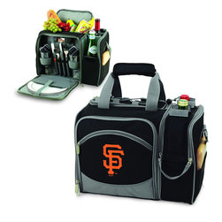 """Picnic Time - San Francisco Giants Malibu Picnic Pack in Black - Insulated pack with picnic service for 2 made of 600D polyester canvas. The elegant and unique Malibu shoulder pack is perfect for picnics, concerts, or travel. This tote has an integrated wine storage section and a spacious food storage section with removable liner. The adjustable shoulder strap makes it easy to carry. A wonderful gift idea.; Decoration: Digital Print; Includes: 2 plates (melamine, 9"""", Nouveau Grapes design), 2 wine glasses (acrylic, 8 oz.), 4 napkins (100% cotton, 14 x 14"""", Nouveau Grapes design), 2 (18/0) stainless steel forks, knives, and spoons, 1 hardwood cutting board (6 x 6""""), 1 stainless steel cheese knife with wooden handle, and 1 stainless steel waiter-style corkscrew"""
